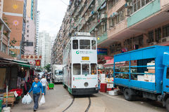 Hong Kong - Dec 07 2015: Double-decker trams. Double-deck electr Stock Images