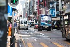 HONG KONG - 11 december 2016: De nieuwe en Oude Bouw op Nathan Stock Foto