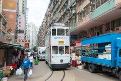 Hong Kong - December 07 2015: Dubbeldäckarespårvagnar electr Dubblett-däck Arkivbilder