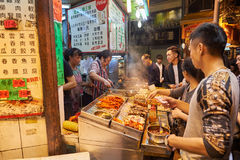 Hong Kong. 25 DECEMBER 2015: street cafe in Kowloon at night. Kowloon is an area in  comprising the Kowloon Peninsula and New Kowloon stock photo