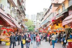 Hong Kong - December 04 2015: Tai Po Market en berömd turist- fläck in Royaltyfria Bilder