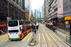 Double-decker tramway. HONG KONG - DECEMBER 25, 2015: view from upper deck of double-decker tramway. The tram is the cheapest mode of public transport on Hong Stock Photo