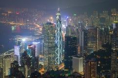Hong Kong in der Nachtansicht Stockbild