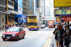 Hong Kong Des Voeux Road central Arkivfoto