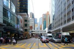Hong Kong Des Voeux Road central Royaltyfria Bilder