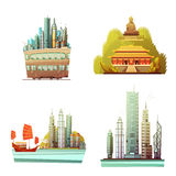 Hong Kong 2x2 Design Concept. Set of history landmarks modern urban architecture and sea landscape flat vector illustration Royalty Free Stock Image