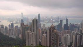 Hong Kong die Victoria Peak-Ansicht vom chinesischen Pavillon stock footage