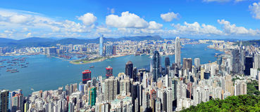 Hong Kong district. At day time Royalty Free Stock Photo