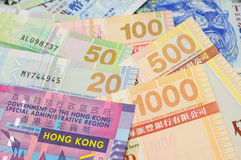 Hong Kong dollar bills closeup Stock Photos