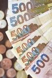 Hong Kong dollar med mynt Royaltyfri Fotografi