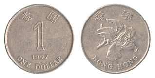 1 Hong Kong-dollarmuntstuk Royalty-vrije Stock Afbeelding