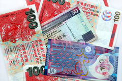 Hong Kong dollars. Hong Kong dollar notes of various sizes Royalty Free Stock Photo