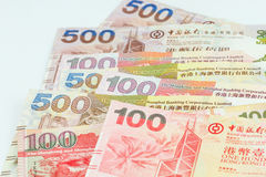 Hong Kong dollars on white background Stock Photos