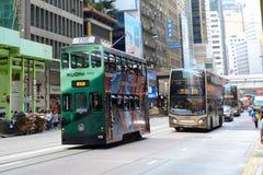 Hong Kong double deck tram, Hong Kong Island Royalty Free Stock Photo