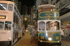 Hong Kong Double-Decker klassisk spårvagn arkivfoto