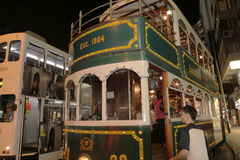 Hong Kong Double-Decker klassisk spårvagn royaltyfri bild