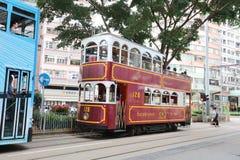 Hong Kong Double-Decker klassisk spårvagn arkivbild