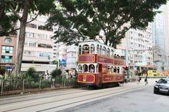 Hong Kong Double-Decker klassisk spårvagn royaltyfri fotografi