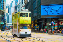 Hong Kong double-decker tram in Central Royalty Free Stock Photo