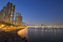 Hong Kong downtown along the coast at night Royalty Free Stock Photography