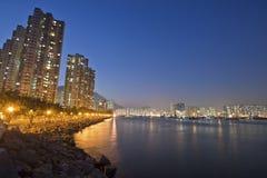Hong Kong downtown along the coast at night Royalty Free Stock Photography