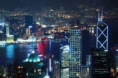 Hong Kong downtown City Night Scenes Royalty Free Stock Photos