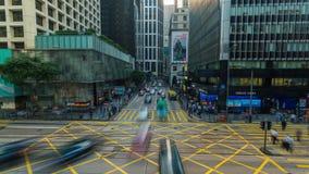 Hong Kong downtown Crosswalk and crossroad Timelapse. 4K stock footage