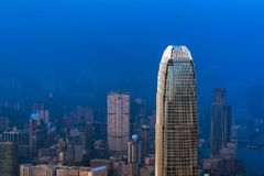 Hong kong downtown the famous cityscape view from the Victoria peak Royalty Free Stock Photos
