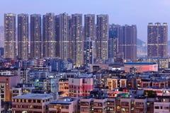 Hong Kong downtown with many building at night Stock Photos