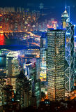 Hong Kong downtown at night Stock Photo