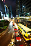 Hong Kong downtown at night stock image