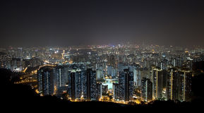 Hong Kong downtown at night Royalty Free Stock Image