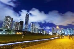 Hong Kong downtown at night Royalty Free Stock Photos