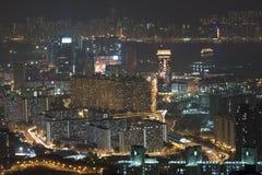Hong Kong downtown at night, Kowloon side. Stock Images