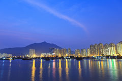 Hong Kong downtown at night, Tuen Mun district. Stock Photo
