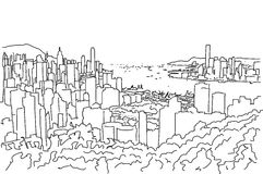 Hong Kong Downtown Panorama Outline Sketch Stock Images