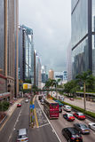 Hong Kong Downtown street crowded with transport Royalty Free Stock Photography