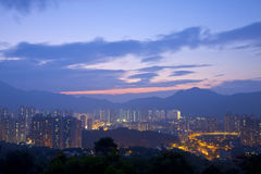 Hong Kong downtown at sunset time Royalty Free Stock Photography