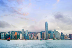 Hong Kong  downtown at sunset Stock Photo