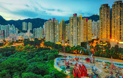 Hong Kong downtown sunset Stock Photo