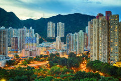 Hong Kong downtown sunset Stock Photography