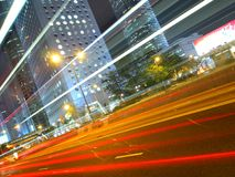 Hong Kong Downtown Traffic at Night. This is the amazing traffic light in Hong Kong commercial district at night Royalty Free Stock Photography