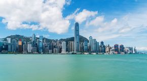 Hong Kong Downtown und Victoria Harbour Finanzbezirk in s lizenzfreie stockfotos