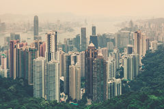 Hong Kong downtown view from Victoria peak Royalty Free Stock Photo