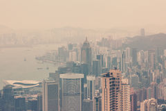 Hong Kong downtown view from Victoria peak Royalty Free Stock Photography