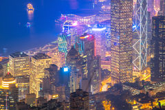 Hong Kong du centre la vue célèbre de paysage urbain de Hong Kong Photos stock
