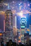 Hong Kong du centre la vue célèbre de paysage urbain de Hong Kong Photographie stock libre de droits