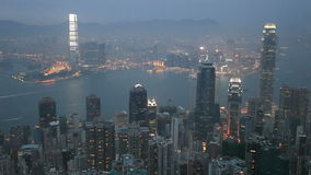 Hong Kong at dusk. View from the Victoria Peak stock footage