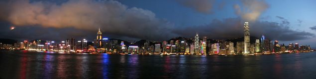 Hong Kong em Night_pan1 Imagem de Stock Royalty Free