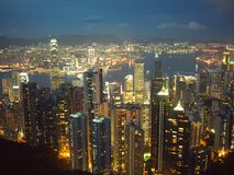 Hong Kong em Noite Imagem de Stock Royalty Free